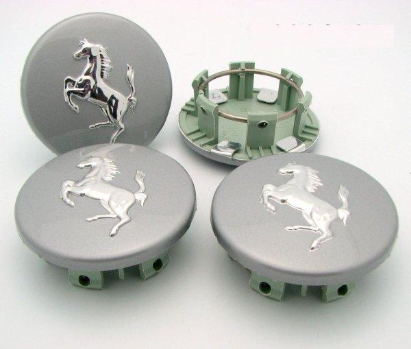 画像1: 360モデナ用ホイールバッチセット(Silver grey with aluminium horse)