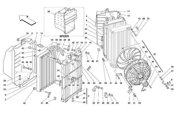 画像1: 001 ウォーター・(右)ラジエーター/355(2.7 Motronic)