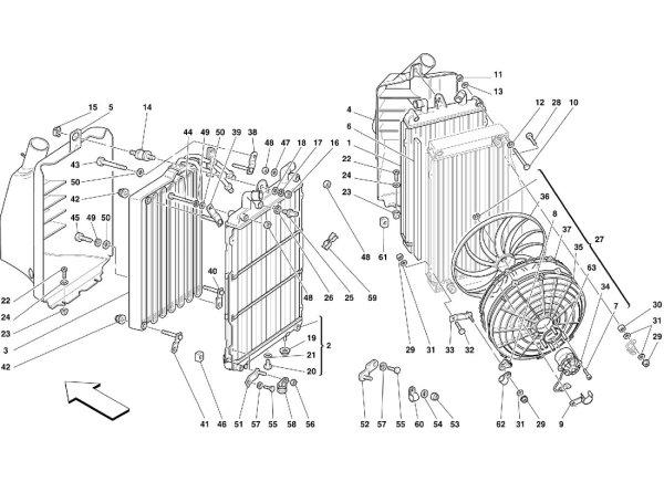 画像1: 002 ウォーター・(左)ラジエーター/355(5.2 Motronic)